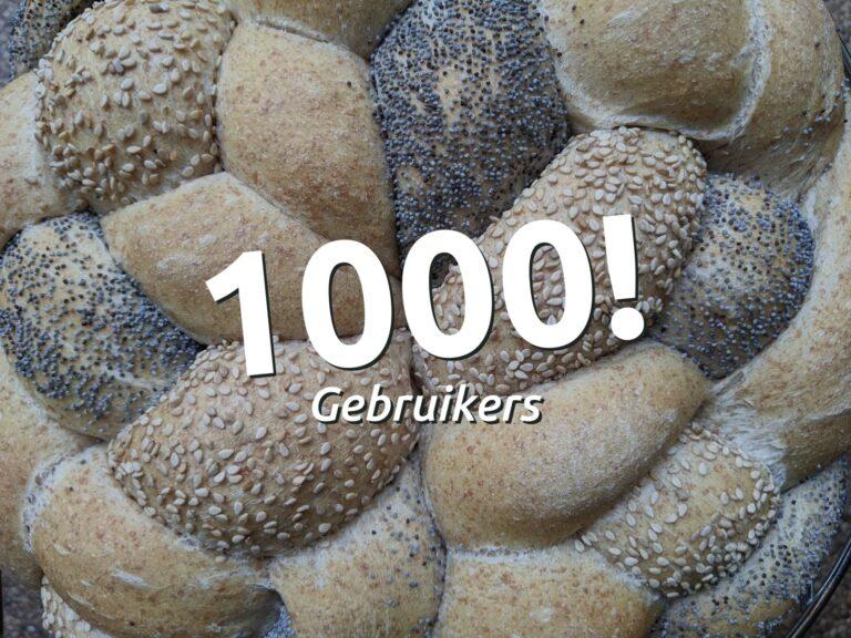 1000 gebruikers sinds de lancering!